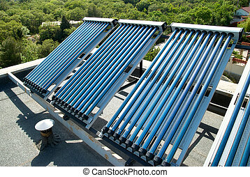 Vacuum solar cells for water heating system on the house...