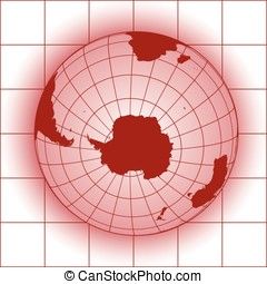 Antarctica red - Antarctica and South Pole map. Antarctica,...