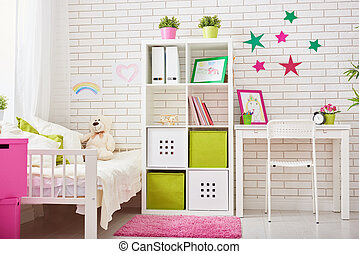 bedroom for child girl - Interior of colorful bedroom for...