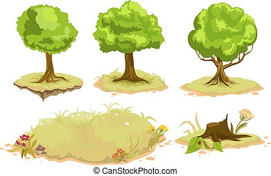 Set of deciduous trees. Isolated illustration in vector...