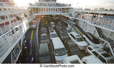 Cars on the Ferry - Crimea, Kerch - 13 july 2015 : cars and...