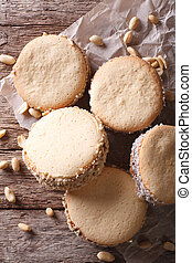 sabroso, Galletas, con, crema, en, papel, close-up.,...
