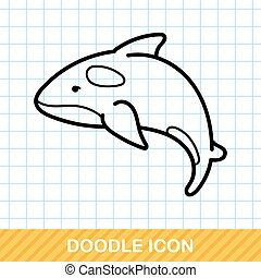 sea animal whale doodle