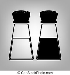 Salt and pepper sign - Salt and pepper. Flat style icon....
