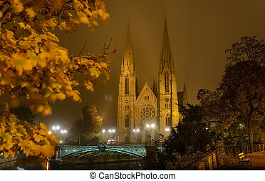 The Church of St Paul France, Strasbourg - Autumn Night view...