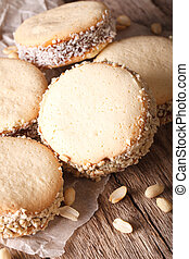 delicioso, Alfajores, Galletas, en, papel, close-up.,...