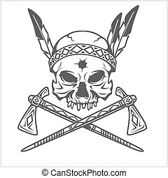 American Indian Chief Skull With Tomahawk isolated in white