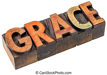 grace word abstract in wood type