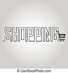 Shopping Cart and line text illustration - Shopping Cart and...