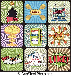 Set of Retro Comic Book Vector Design elements