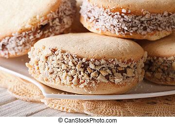 argentino, sweets:, Galletas, alfajores, macro, en, Un,...