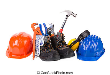 Working tools in boots.