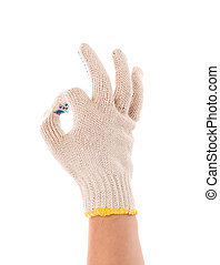 protective glove shows sign ok Isolated on a white...