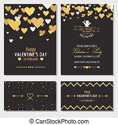 Set of Love Cards with Gold Glitter - Wedding, Valentine's Day, Invitation - in vector