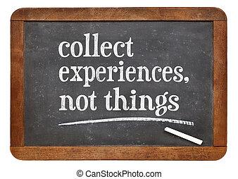 recoger, experiencia, no, cosas,