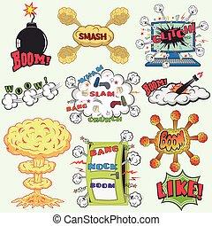 Set of Retro Comic Book Vector Design elements