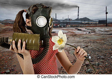 ecology pollution - little girl in gas mask, smell big white...