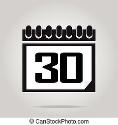 Calendar icon number 30 vector illustration