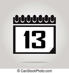 Calendar icon number 13 illustration - Calendar icon number...