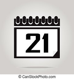 Calendar icon number 21 vector illustration