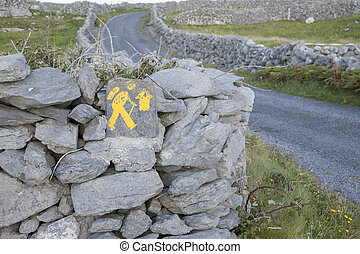 Walking Sign, Inishmore; Aran Islands; Ireland