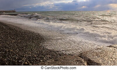 Sea wawes washed pebbles summer - Sea wawes washed pebbles...