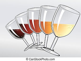 wine tasting party. wineglasses on gray background