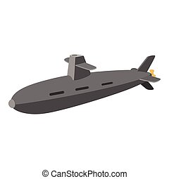 Submarine cartoon icon isolated on a white background