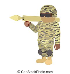 Soldier cartoon icon - Soldier in camouflage with a bazooka...