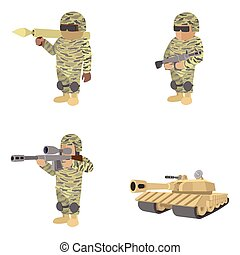 Set of soldiers cartoon icons - Set of soldiers with guns...