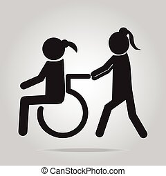 Disabled icon sign, Disabled icon, a woman pushing...