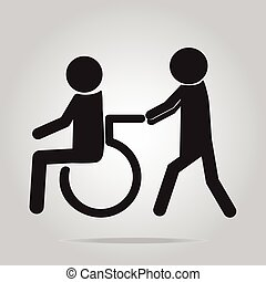 Disabled icon sign - Disabled icon, a man pushing wheelchair...
