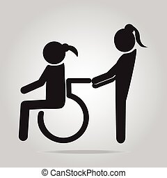 Disabled icon sign, a woman pushing wheelchair of woman...