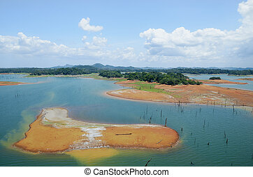 Aerial view of Gatun Lake, Panama Canal on the Atlantic side...