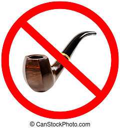 tobacco pipe, no smoking - prohibiting sign, isolated