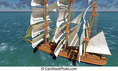 Pirate brigantine at sea