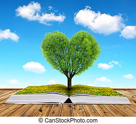 Valentines day - Book with a tree in the shape of heart....