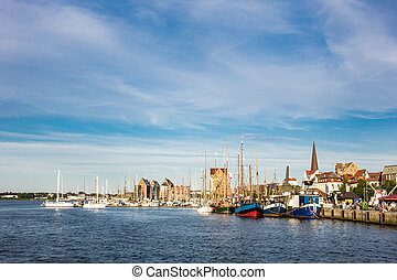 City port in Rostock (Germany) with sailing ships.