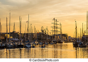 City port in Rostock Germany with sailing ships