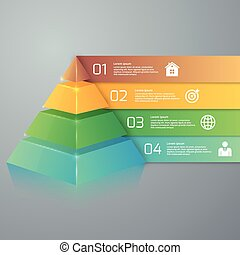Vector illustration infographics four options pyramid Stock...