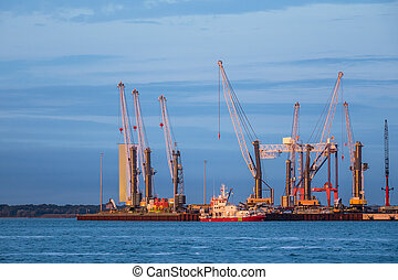 Cranes in the port of Rostock Germany