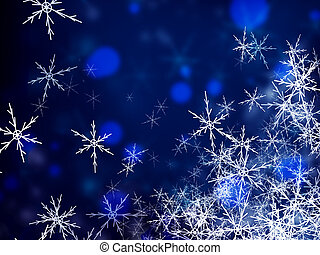 Background from white snowflakes on blue
