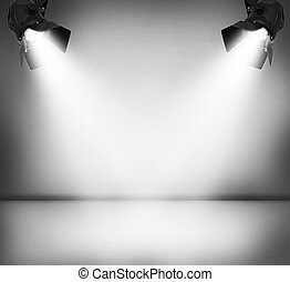 Spotlights - Grey studio and two spotlights