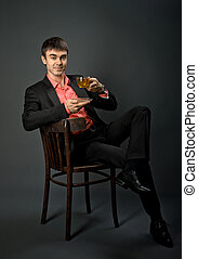 businessman - portrait the beautiful businessman with tea,...