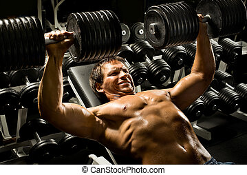 sport guy - very power athletic guy , execute exercise press...