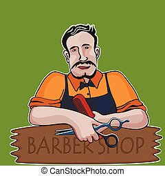 Hairstylist. Barber shop theme, excellent vector...