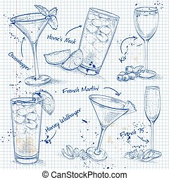New Era Coctail Set on a notebook page , excellent vector...