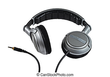 Dj Headphones on White Background - Silver Dj Headphones...