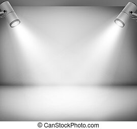 Room - Grey studio and two spotlights