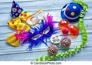 Colorful carnival background with party accessory, streamers...